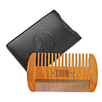 Viking Revolution Wooden Beard Comb and Case