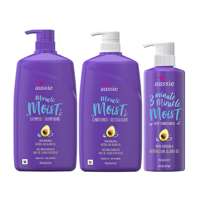 Aussie Miracle Moist Shampoo, Conditioner, and 3 Minute Miracle Deep Conditioner Hair Treatment Bundle